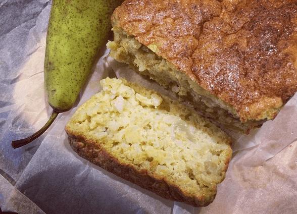 ciasto ryzowe z gruszka